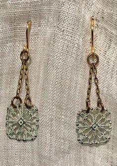 Filigree Earrings, Baby Blue, Monogram, Michael Kors, Chain, Pattern, Handmade, Bags, Vintage
