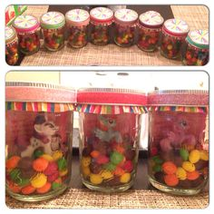 My little pony birthday party centerpieces.. Ponies inside mason jars with cards and skittles