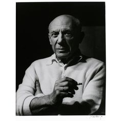 """France. Lucien Clergue (signed) """"Picasso al a Cigarette"""" silverprint photograph of Pablo Picasso. 1956 (edition of 9 printed in 1997). h14w11"""