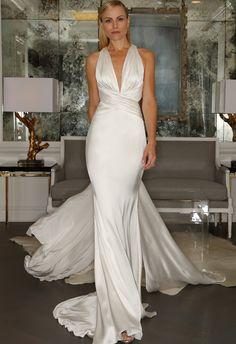 Silk Halter Wedding Dress | Romona Kaveza Collection Fall 2015 | http://blog.theknot.com #wedding_dresses #wedding #myweddingnow.com #Top_Wedding_Dresses #Cute_Wedding-Dress