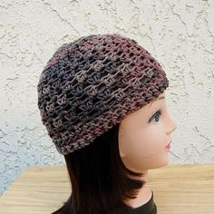 d3bd4f99fa0 Women s Men s Dark Brown   Rust Cotton Crochet Knit Hat Summer Beanie Skull  Cap  Handmade  Beanie
