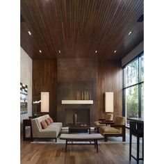 Beautiful Modern Wood Paneling Liked On Polyvore Blue Color Schemes Living Room