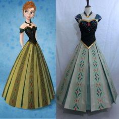 New Arrival Hot Sale Custom Made Movie Cosplay Women Formal Fatasia Frozen Anna Dress Princess Costume For Frozen Party-in Costumes from App...