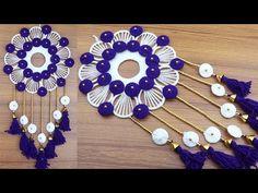 Door Hanging Decorations, Wall Hanging Crafts, Rangoli Borders, Rangoli Border Designs, Twine Crafts, Diy Crafts, Ganesh Chaturthi Decoration, Diy Fabric Jewellery, Woolen Craft