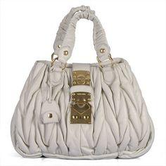 f8708537cc27 miu miu 090 White Lambskin Matelasse Top Handle Bag Cheap Designer Purses