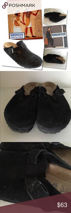 BIRKENSTOCK BOSTON SOFT FOOTBED SUEDE SHOES CLOGS BIRKENSTOCK BOSTON SOFT FOOTBED BLACK SUEDE SHOES CLOGS SZ 39 / 8 - 8.5 $140 Birkenstock Shoes Mules & Clogs