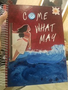 Diy notebook cover of Moana. When you can't find a notebook of your favourite movie... You design it yourself! It's not the best, but nobody will have the same cover as you :)