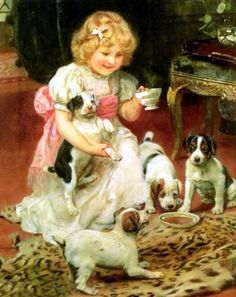 bumble button: Arthur John Elsley paintings English countryside children playing with their dogs