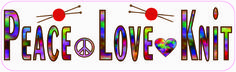 "10"" x3"" Peace Love Knit Knitting Bumper Sticker Window Decal Car Stickers Decals"