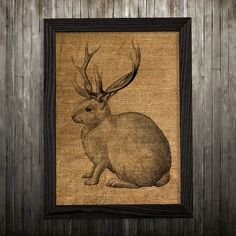 Rabbit print. Animal poster. Jackalope decor. Burlap print.  PLEASE NOTE: this is not actual burlap, this is an art print, the image is printed on