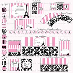 PRINTABLE Paris Theme DIY Party Kit Birthdays/ Bridal by DeLamour, $25.00