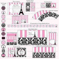 PRINTABLE Paris Theme DIY Party Kit Birthdays/ Bridal by DeLamour, $25.00