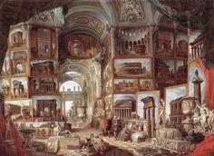 Galleria di quadri con vedute dell'Antica Roma, G.P. Pannini