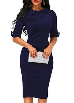 fb12b2bf1dce8a Women s Retro Bodycon Below Knee Formal Office Dress Pencil Dress with Back  Zipper