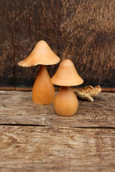 1970's Wooden Mushrooms