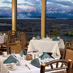 Jackson Lake Lodge dining room in Grand Teton National Park - time I ate escargots! National Park Lodges, Grand Teton National Park, National Parks, Jackson Hole Restaurants, Teton Mountains, Jackson Wyoming, Spaces, Vacations, Travel Memories
