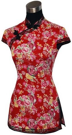 #idreammart Periwing Traditional Cotton Floral Print Cap Sleeves Chinese Shirt - iDreamMart.com