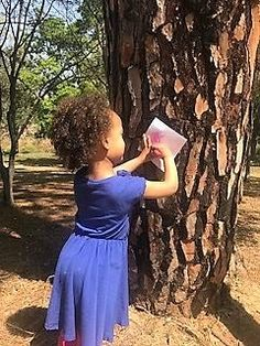 Tree rubbings are a nature activity that aids the children to explore different textures of bark and learning names of trees.