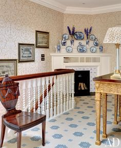 Traditional Staircase/Hallway by Mark Gillette in Burley on the Hill, England - STENCILED FLOOR