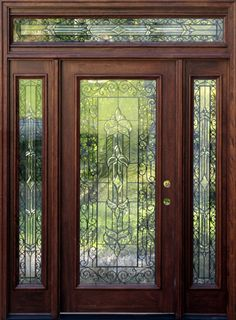 Mahogany Exterior Doors with Sidelights - but only leaded glass on the top Entry Doors With Glass, Glass Front Door, Front Doors, Front Door Design, Front Door Colors, Stained Glass Door, Leaded Glass, Villa Del Carbon, Exterior Doors With Sidelights