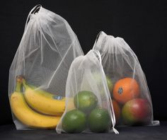 reusable produce bags. Cashier can read the produce number...no plastic needed. And the bags are washable.