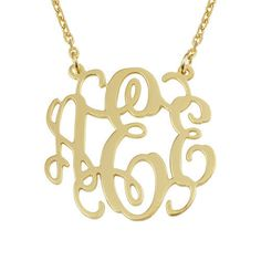 """20"""" $26.90 Monogram necklace gold,Personalized monogram necklace,1 inch 925 sterling silver plated 18k gold by mymonogramdesign on Etsy https://www.etsy.com/listing/191415736/monogram-necklace-goldpersonalized"""