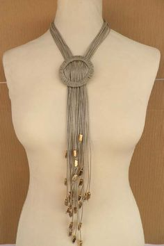 www.flprivatecollection.gr eshop images stories virtuemart product k259z%20(3).jpg Scarf Jewelry, Fabric Jewelry, Yarn Necklace, Fabric Necklace, Textile Jewelry, Leather Jewelry, Jewelry Art, Jewelry Crafts, Beaded Jewelry