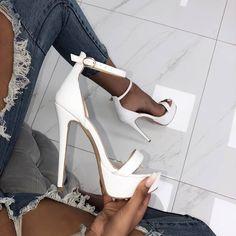 sandales blanches talons hauts