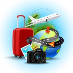 Buy Vacation Realistic Background by macrovector on GraphicRiver. Vacation and holidays background with realistic globe suitcase and photo camera vector illustration. Editable EPS and. Travel Agency Logo, Travel Logo, Green Business, Business Logo, Free Poster, Christmas Party Poster, Prospectus, Tourism Day, Photos Hd