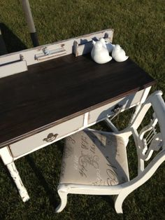 Distressed Tri Colour Desk and Parsian Chic Chair by Thistle Thatch Designs