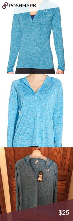 Under Armour Women's UA Tech Twist Pullover Hoodie A supersoft and stylish pullover top is crafted from Under Armour's Signature Moisture Transport System that dries quickly to keep you cool and comfortable. A generous hood keeps your head toasty warm, while raglan long sleeves give you a wider range of motion during workouts. Size Large Attached hood. Split neck. Long sleeves. Antimicrobial fabric inhibits the growth of odor-causing germs. 100% polyester. Machine wash cold, tumble dry low…