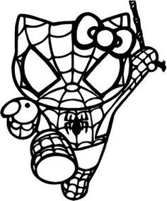 Hello Kitty Spiderman Vinyl Window Decal Sticker Available In 23 Colors