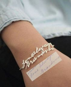 Turn any handwriting into a bracelet. Isn't that just the sweetest idea ever? http://rstyle.me/n/bjm6cw56ce (supports Kids Activities Blog)