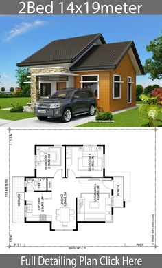 Home design plan with 2 Bedrooms - Home Ideas - House Architecture Sims House Plans, Garage House Plans, Bedroom House Plans, Modern House Plans, Small House Plans, House Floor Plans, Tiny Home Floor Plans, Bungalow House Design, Small House Design