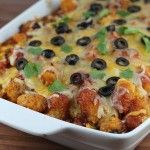 Taco tater tot casserole-Layered instead of mixing. Added cilantro, salsa, sour cream on top when done. Used crowns. Make again!