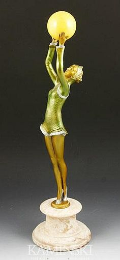 "Art Deco Bronze Figurine of a Dancer with Ball Marble Base Signed B. Chiparus 18""."