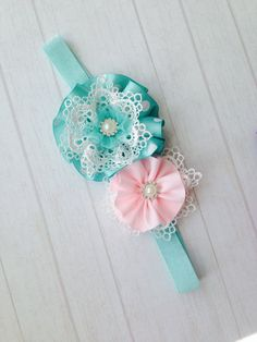 Cutiesdressup - Handmade Headbands and hair accessories - on Etsy Fabric Flower Headbands, Shabby Chic Headbands, Vintage Headbands, Handmade Headbands, Diy Headband, Newborn Headbands, Baby Girl Headbands, Fabric Flowers, Crochet Headbands