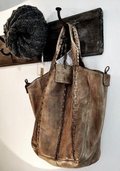 Wood plank coat hanger (want that bag too!)