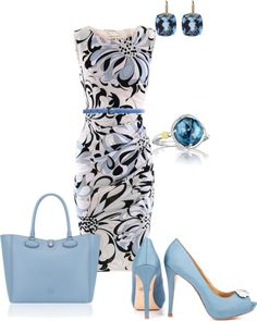 """Blue/Black Work Outfit"" by mahaden on Polyvore - like the dress and jewelry hate the shoes and purse"
