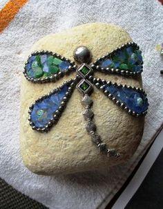 Beautiful blue butterfly mosaic rock