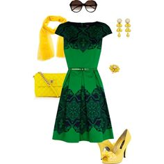 Green dress, yellow accents