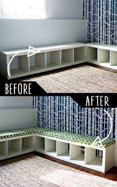 DIY Möbelhacks | Gepolsterte Bank aus dem Bücherregal | Coole Ideen für kreative ...  #bucherregal #coole #gepolsterte #ideen #kreative #mobelhacks