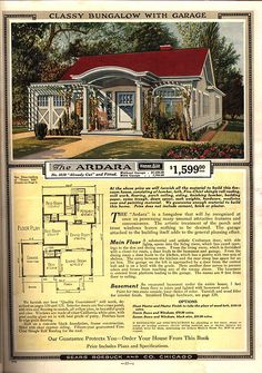 Sears Bungalow Plans and More from 1918 to Sears Modern Home No. The Ardara, circa 1919 Bungalow House Plans, Small House Plans, House Floor Plans, Sears Catalog Homes, Vintage House Plans, Vintage Homes, Patio Roof, Pergola Roof, Pergola Plans