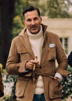 Forget the hoary old edict proclaiming 'No white after Labor Day'. Here's how to bring a little brilliance into your winter wardrobe. Gents Fashion, Suit Fashion, Latex Fashion, Gothic Fashion, Fasion, Italian Mens Fashion, Cigar Men, Safari Jacket, Ralph Lauren Style