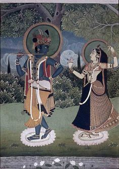 Radha and Krishna. Location: Rajasthan, India Date: ca 1775 CE - Krishna Pichwai Paintings, Mughal Paintings, Indian Paintings, Rajasthani Painting, Abstract Paintings, Kerala Mural Painting, Silk Painting, Painting Tips, Painting Art