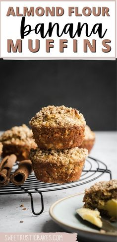 These almond flour banana muffins have the best crumb topping making them a healthy delicious treat. Perfect for breakfast or as a quick snack, these muffins are ready in 30 minutes and only need 9 ingredients. Naturally gluten-free but also paleo friendly! Banana Recipes Easy Healthy, Healthy Banana Muffins, Banana Recipes Clean Eating, Ripe Banana Recipe, Banana Snacks, Banana Dessert Recipes, Easy Banana Bread, Breakfast Recipes, Paleo Breakfast