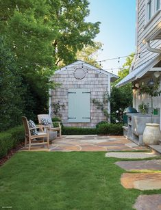 Looking to make a family-friendly Vestavia Hills neighborhood home, landscape designer Peter Falkner and his family endured two renovations and installed a wow-worthy garden and entertaining area to complete their forever house. Backyard Patio, Backyard Landscaping, Vestavia Hills, Side Porch, House In The Woods, Ideal Home, Birmingham, Landscape Design, Garden Design
