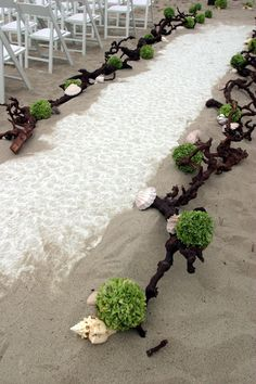 not too found of the aisle decorations... but like how the aisle runner is being held down by the sand.