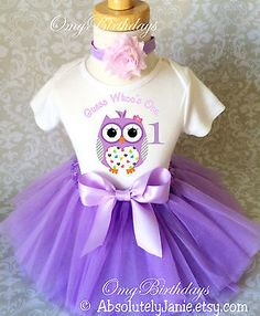 Lavender purple Owl Look Whos Baby Girl 1st First Birthday Tutu Outfit Shirt Set