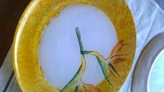 prato de vidro pintado